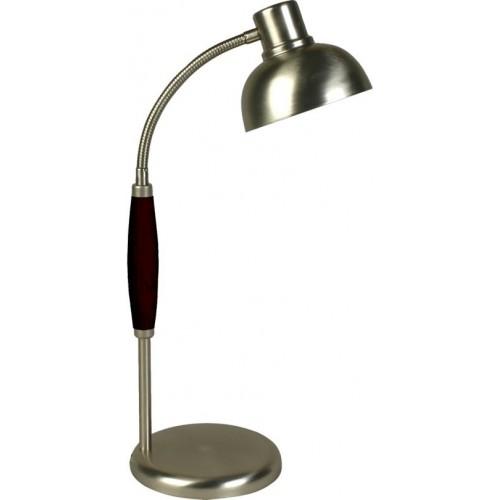 Lámpara escritorio flexible 326, platil con madera laqueda, 1 luz E27, apto led