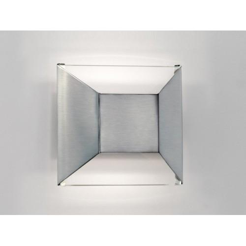 Aplique difusor Topo I, cristal transparente y acero platil, 1 luz G9