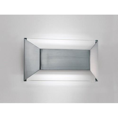 Aplique difusor Topo II, acero y cristal, 2 luces G9, apto led