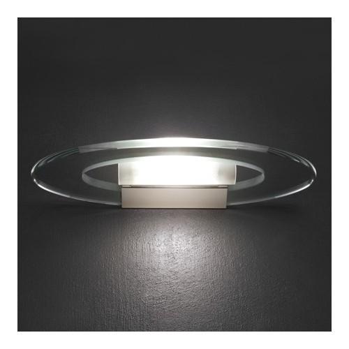 Aplique difusor Oval, cromo y cristal, 1 luz cuarzo 150w, apto led