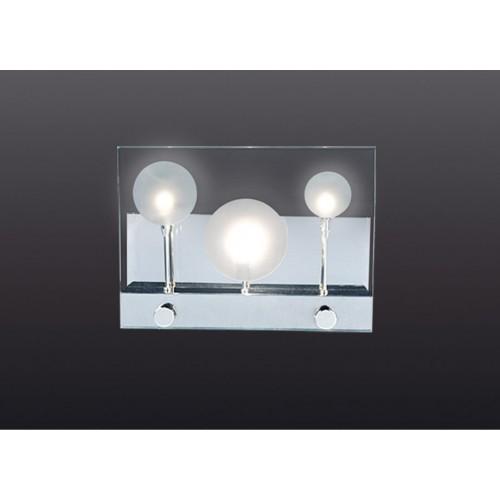 Aplique difusor Marti, 3 luces bi pin 20w, cromo y cristal serigrafiado