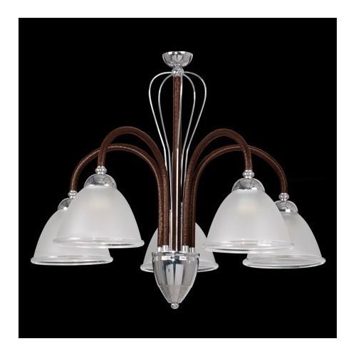 Araña 5 luces, brazos cromo con cuero, tulipas cristal satinado