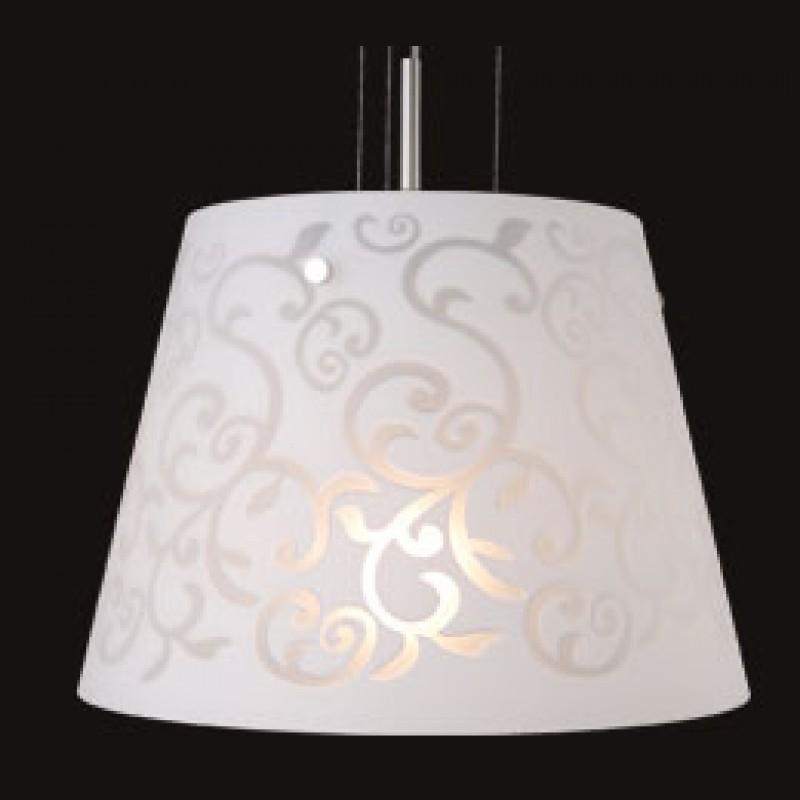Colgante cónico Filipa, cristal opal serigrafiado, 1 luz E27