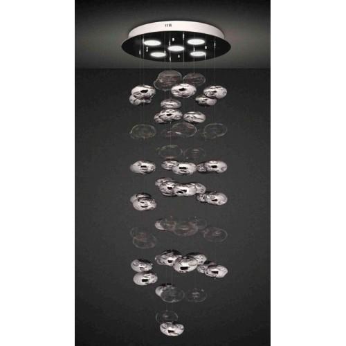 Colgante lluvia burbujas cristal transparentes y cromados, base cromo ,5 luces AR111