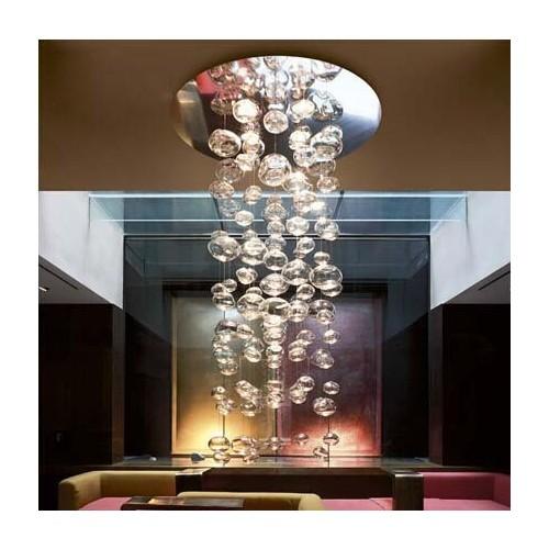 Colgante lluvia globos cristal transparentes y cromados, base cromo ,5 luces AR111