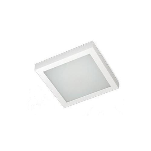 Plafón Square, chapa de acero blanca, difusor acrílico opal, 2 lámparas E27, apto led