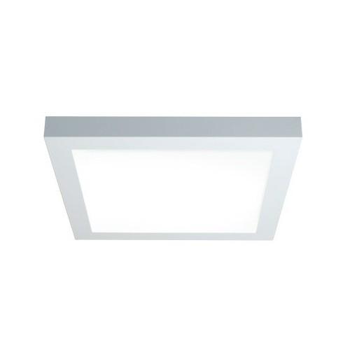 Plafón Square, chapa de acero blanca, difusor acrílico opal, para 2 lámparas dulux L 36w