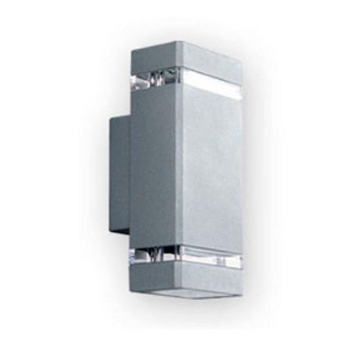 Aplique bidireccional, 2 luces, fundición aluminio y cristal