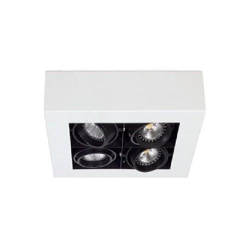 Plafón cardánico Zonic, cuerpo chapa acero, aros móviles en fundición, para 4 lámparas dicroicas, apto led