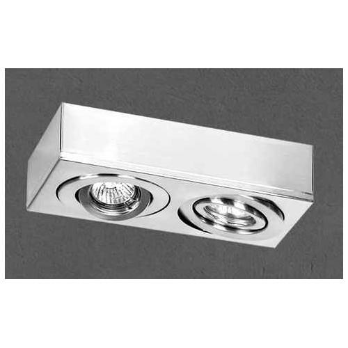 Plafón cardánico 2914, chapa de acero blanco, para 2 lámparas dicroicas, apto led
