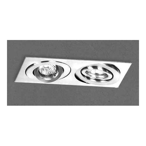 Embutido cardánico 2914E, cuerpo chapa acero blanco, para 2 lámparas dicroicas, apto led
