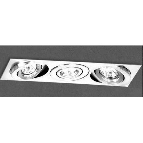 Embutido cardánico 3214E, cuerpo chapa acero blanco, para 3 lámpara dicroica, apto led