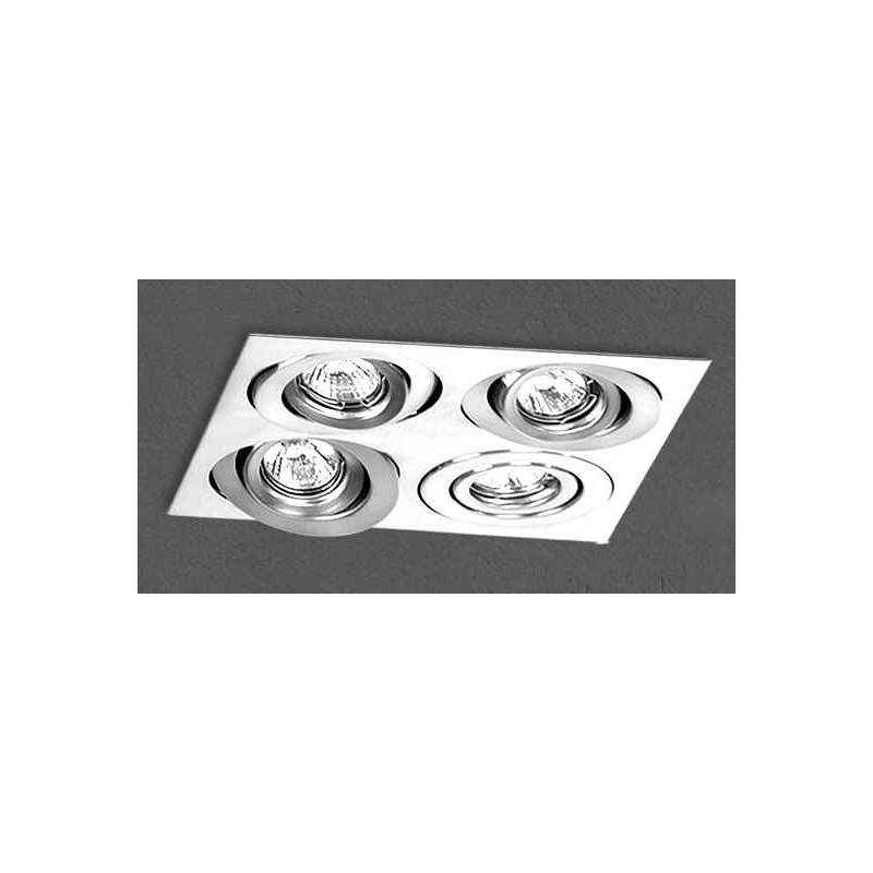 Embutido cardánico 2929E, cuerpo chapa acero blanco, para 4 lámparas dicroicas, apto led
