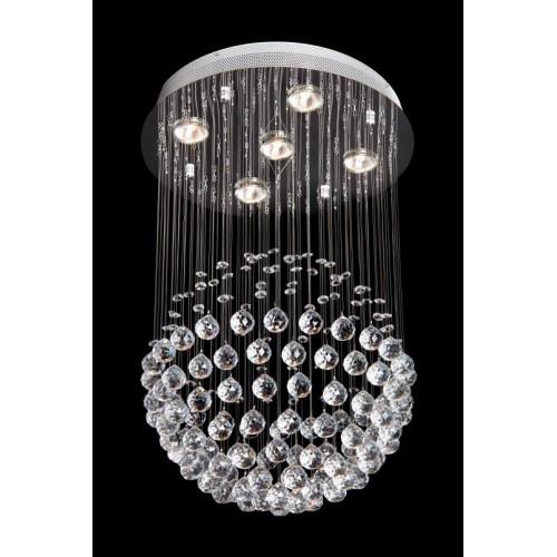 Plafón de cristales colgantes Esfera, p/8 lámparas dicro, base cromo