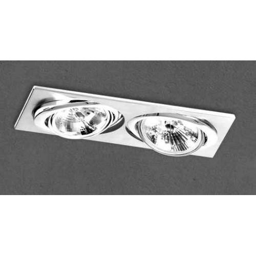 Embutido cardánico 3520E, cuerpo chapa acero blanco, para 2 lámparas AR111, apto led