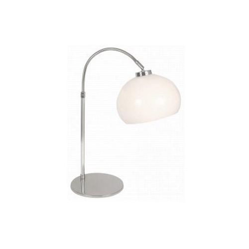 Lámpara escritorio, base metálica cromo c/ arco telescópico, tulipa bocha acrilico blanco, 1 luz