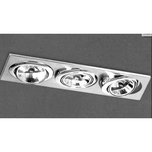 Embutido cardánico 5020E, cuerpo chapa acero blanco, para 3 lámparas AR111,  apto led