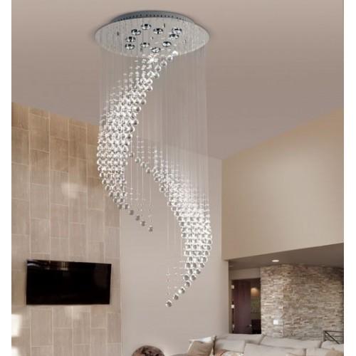Plafón cristales colgantes Egeo, p/10 lámparas dicroicas, base cromo