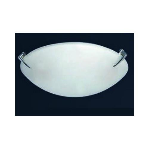 Plafón bombé Lanza Ø 30cm, cristal satinado, herraje metálico, para 2 lámparas E27