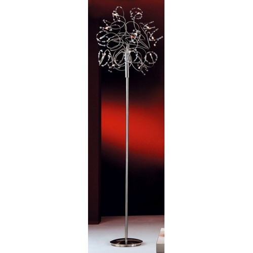 Lámpara pie Fígaro, 12 luces bipin 10w , brazos cromo con cristales