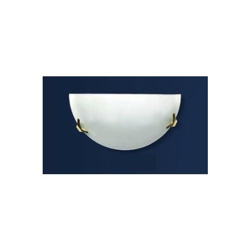 Aplique difusor Ala Ø25, cristal bombé satinado, herrajes en platil u oro, para 1 lámpara E27, apto led