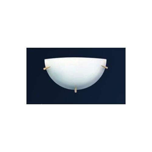 Aplique difusor Lanza Ø25 cm, cristal bombé satinado, herrajes en platil u oro, para 1 lámpara E27, apto led