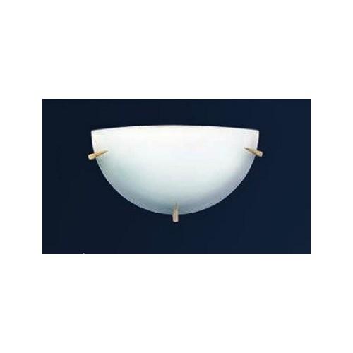 Aplique difusor Lanza Ø30 cm, cristal bombé satinado, herrajes en platil u oro, para 1 lámpara E27, apto led