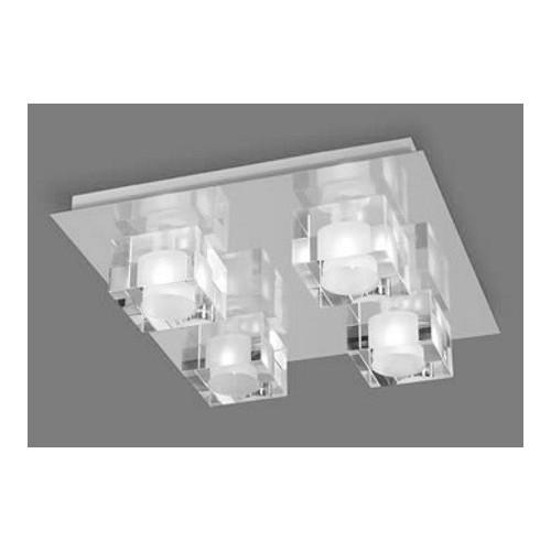 Plafón 4 luces G9. Cubos cristal transparente