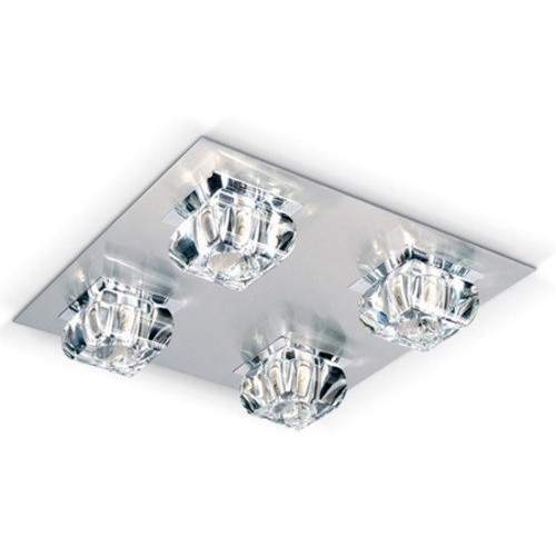 Plafon Glass 4 luces cristal cromo G-9 alto Led