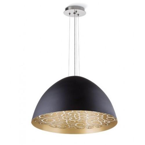 Colgante campana c/led Mandala, aluminio color, tapa calada, led 15w