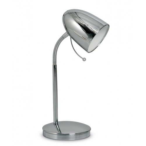 Lámpara escritorio flexible Focus, acero platil o cromo, 1 luz E27, apto led