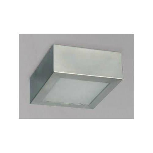 Plafón 15x15cm Africa, chapa de acero, vidrio satinado, para 1 lámpara E27