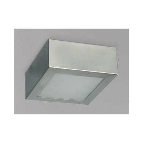 Plafón 20x20cm Africa, chapa de acero platil, vidrio satinado, para 2 lámparas  E27