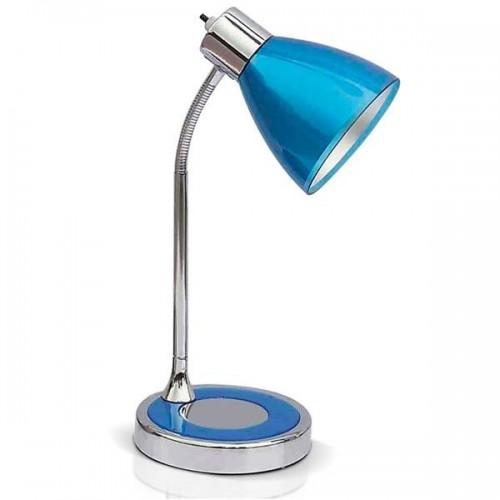 Lámpara escritorio flexible Clan, cromo con acrílico color, 1 luz E27, apto led