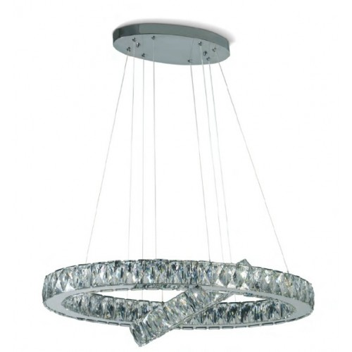 Colgante de led doble ovalo con cristales engarzados