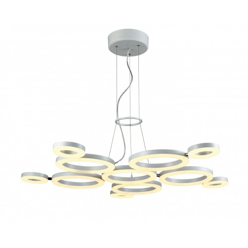 Colgante de diseño Sarasota, anillos led moviles, luz calida 60w