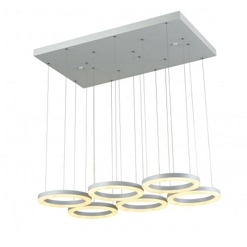 Colgante de led dimerizable de diseño minimalista, 6 anillos en aluminio y acrílico , led luz neutra 60w