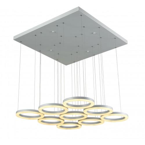 Colgante de led dimerizable de diseño minimalista, 9 anillos en aluminio y acrílico , led luz neutra 95w