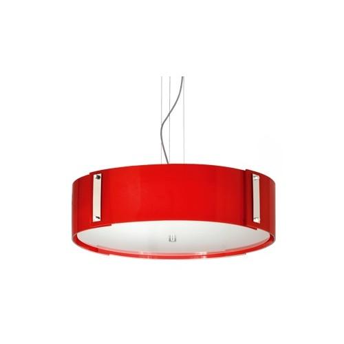 Colgante Venecia cristales curvos rojos superpuestos, tapa vidrio satinado, 4 luces. Apto led