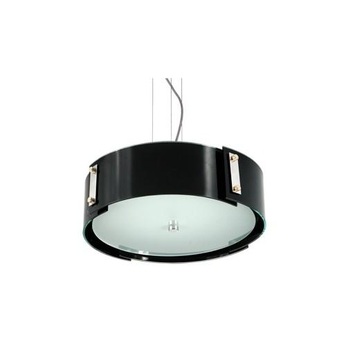 Colgante Venecia cristales curvos negros superpuestos, tapa vidrio satinado, 4 luces. Apto led