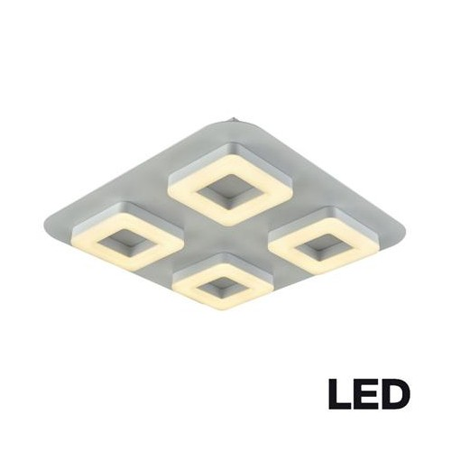 Plafón 4 luces led dimerizable, 36w luz cálida, aluminio y acrílico opal