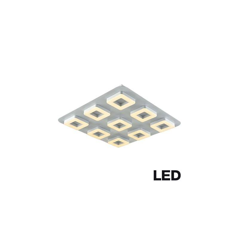 Plafón 9 luces led dimerizable, 60w luz cálida, aluminio y acrílico opal