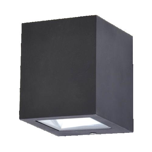 Aplique de led unidireccional, aluminio inyectado y vdrio, led 5w luz cálida