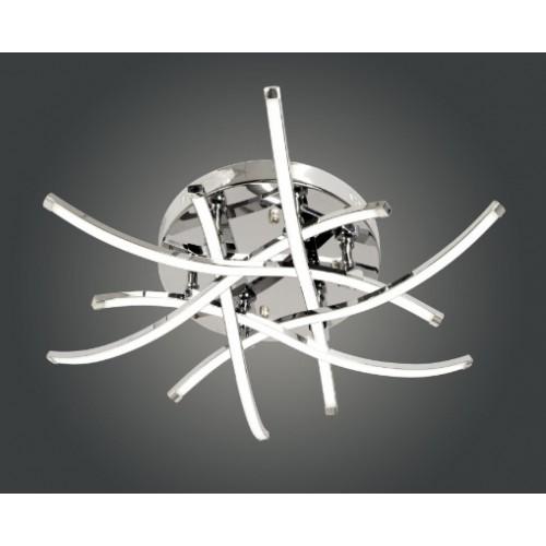 Plafón led de diseño 80w luz cálida,  barras metálicas curvas cromo, con placas de led lineales.