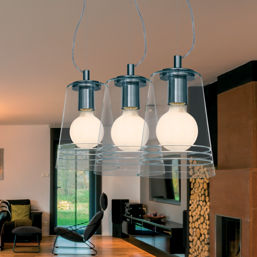 Colgante 3 luces, tulipas cristal cónico tranparente tallado, herrajes acabado cromo, regulable en altura, para lámpara E27