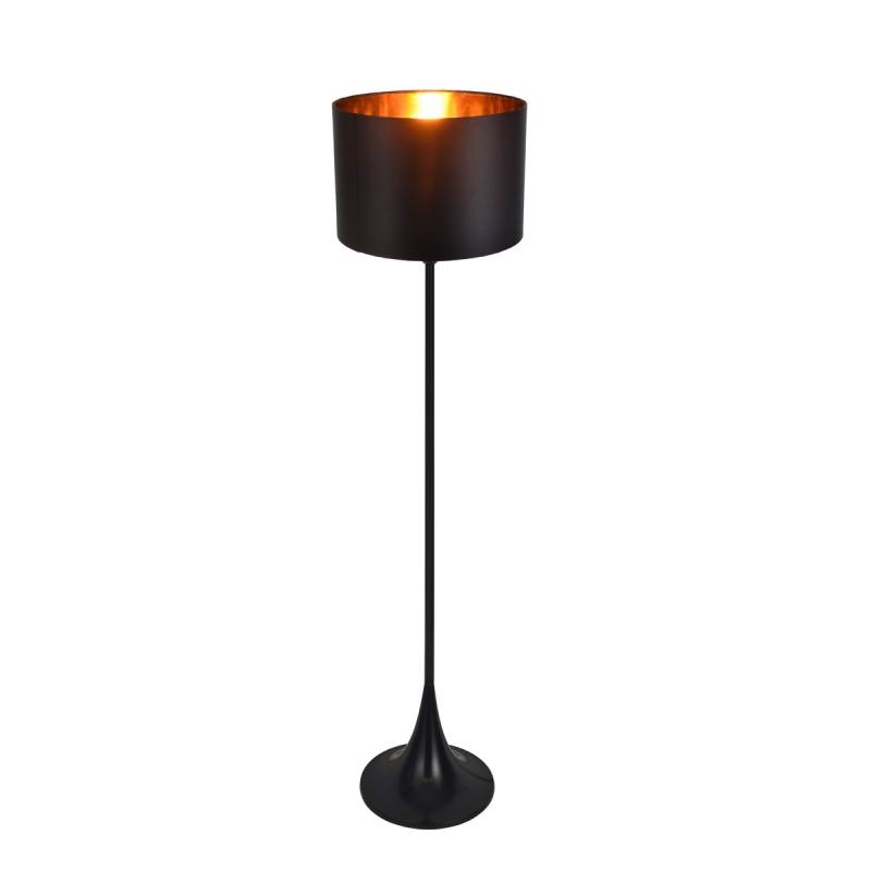 Lámpara De Pie Cuerpo En Metal Negro Satinado Pantalla Negra Con