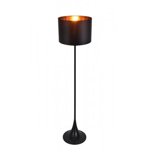 Lámpara de pie, cuerpo en metal negro satinado, pantalla negra con cobre. Para lámpara E27. Apto led.