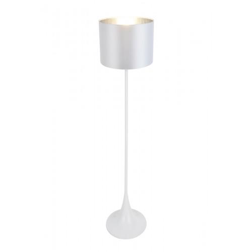 Lámpara de pie, cuerpo en metal acabado blanco satinado, pantalla blanca satén con plateado. Para lámpara E27. Apto led.