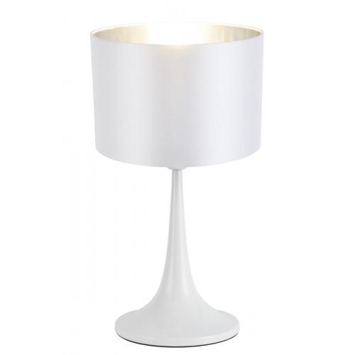 Lámpara de mesa, cuerpo en metal acabado blanco satinado, pantalla blanca con plateado. Para lámpara E27. Apto led.