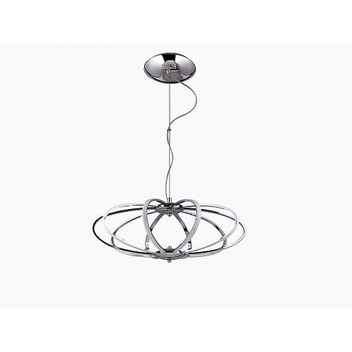 Colgante led de diseño, perfil metálico chato negro perlado,  led  76w luz cálida.